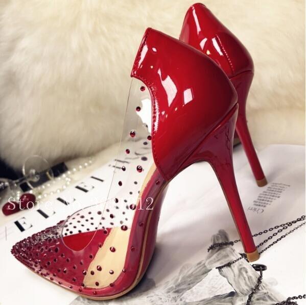 10cm Heel Partie Shiny Bout 12cm Heel Robe Mince Clair Aiguilles Femme Heel Strass Cristal Plexi Couvert Talons 10cm Pvc Pointu Hauts Chaussures Tendance 10cm qa7UwzR