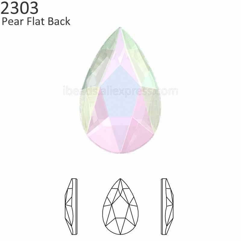 (2 Pieces) Original Crystals from Swarovski 2303 pear flat back no hotfix  rhinestone for 2c22e749ac8e