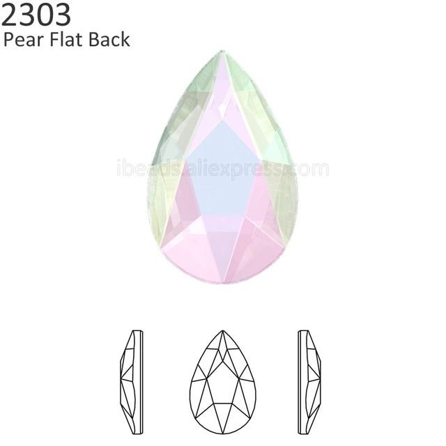 (2 Pieces) Original Crystals from Swarovski 2303 pear flat back no hotfix  rhinestone for nail art DIY jewelry decorate clothing bd2502e7cd6e