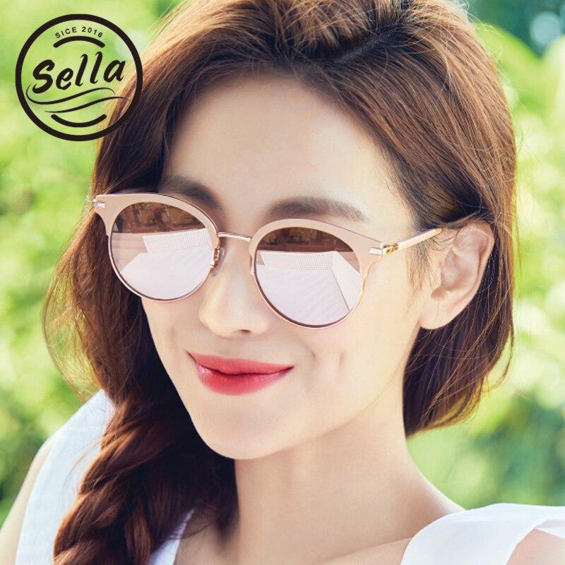 Sella New Fashion Korean Style Oversized Mirror Lens Women Sunglasses Sexy Ladies Cateye Reflective Sun Glasses