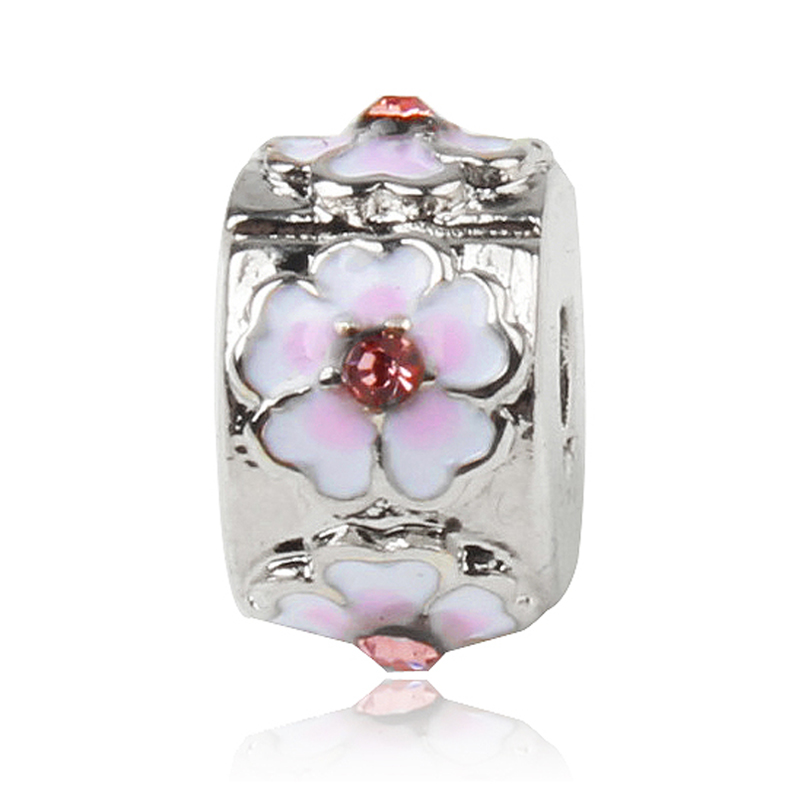 New 1PC Stopper Charms Pink Enamel Flower Beads Clasp Clips Fits European Pandora Charm Bracelets DIY Jewelery accessories