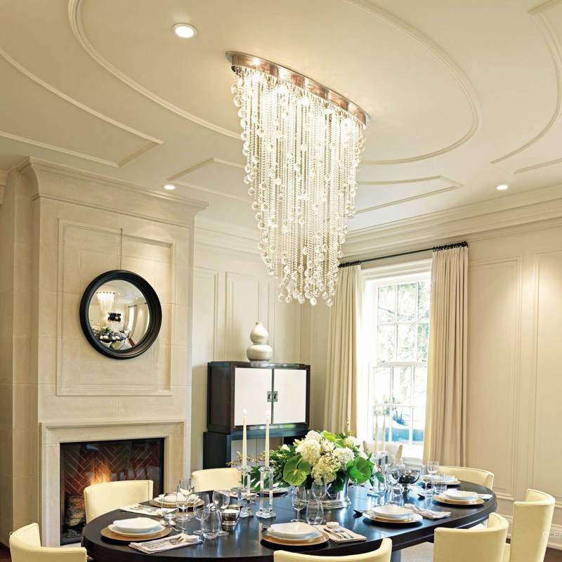 Modern Chandelier Lighting Oval Design Dining Living Room