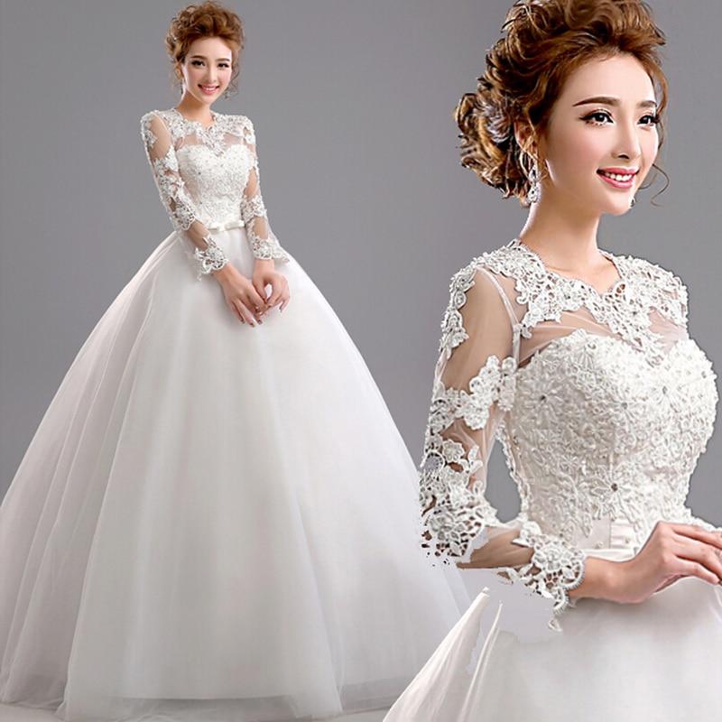 Fansmile 2019 Robe De Mariage Princess Long Sleeve Lace Ball Gown Wedding Dress Custom Made Vestido De Noiva FSM-578F