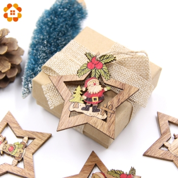4PCS Christmas Star Wooden Pendants Ornaments Xmas Tree Ornament DIY Wood Crafts Kids Gift for Home Christmas Party Decorations 1