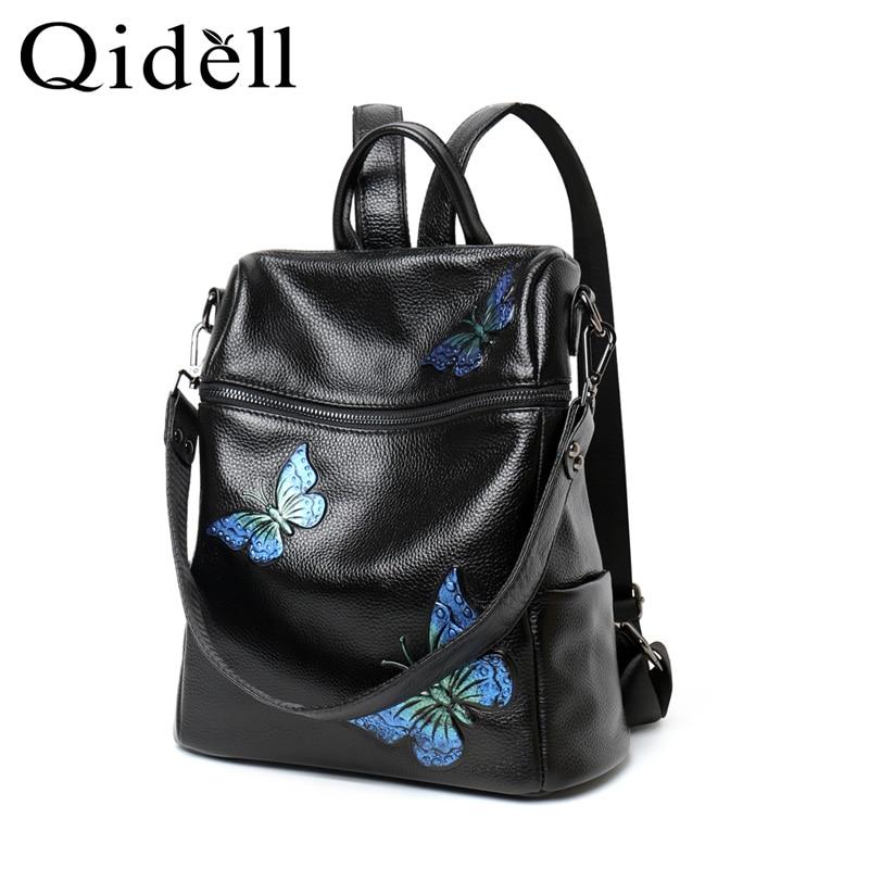 Blue purple Véritable Impression Butterfly Papillon Avec Individuels Dos K552 En À Cuir Butterfly Qidell Sac xwqOBP0Hp