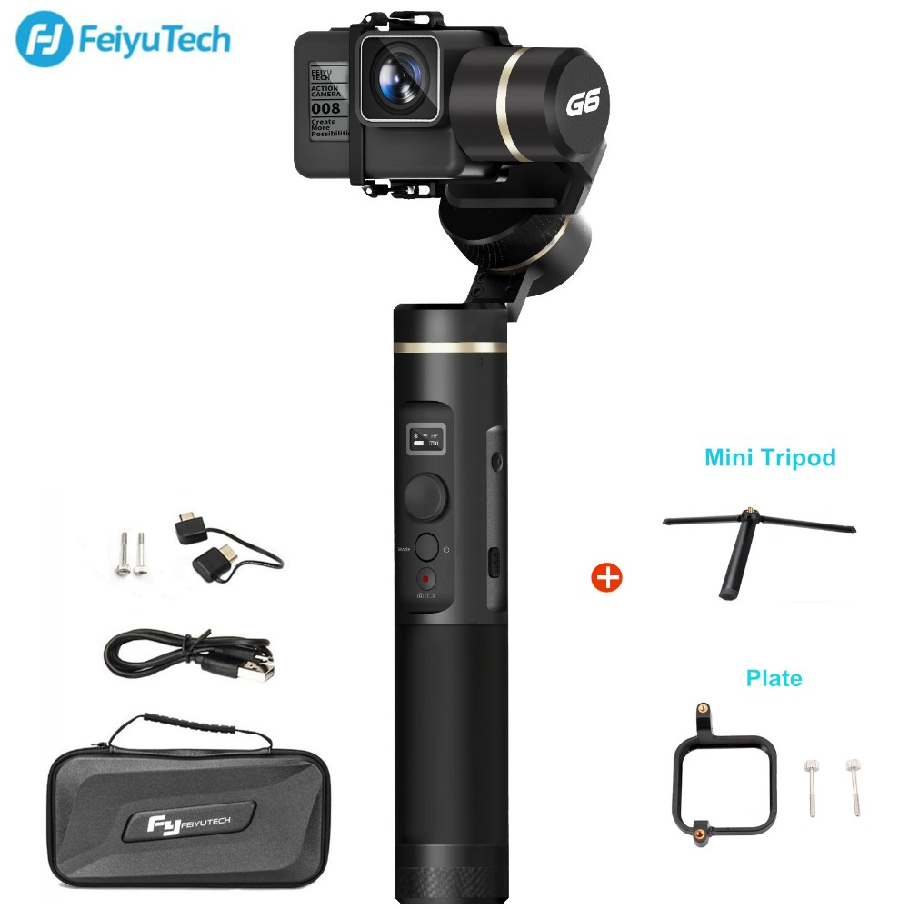 FeiyuTech Feiyu G6 Handheld Gimbal Stabilizer For Gopro Hero 6 5 RX0 Action Camera Wifi +BlueTooth OLED Screen Elevation Angle