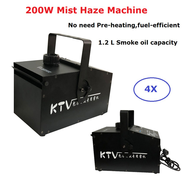 4 Units 200W Mist Haze Machine 1.2L Oil Capacity Smoke Machine 100-240V Stage Dj Effect Disco Party Christmas Shows Equipments