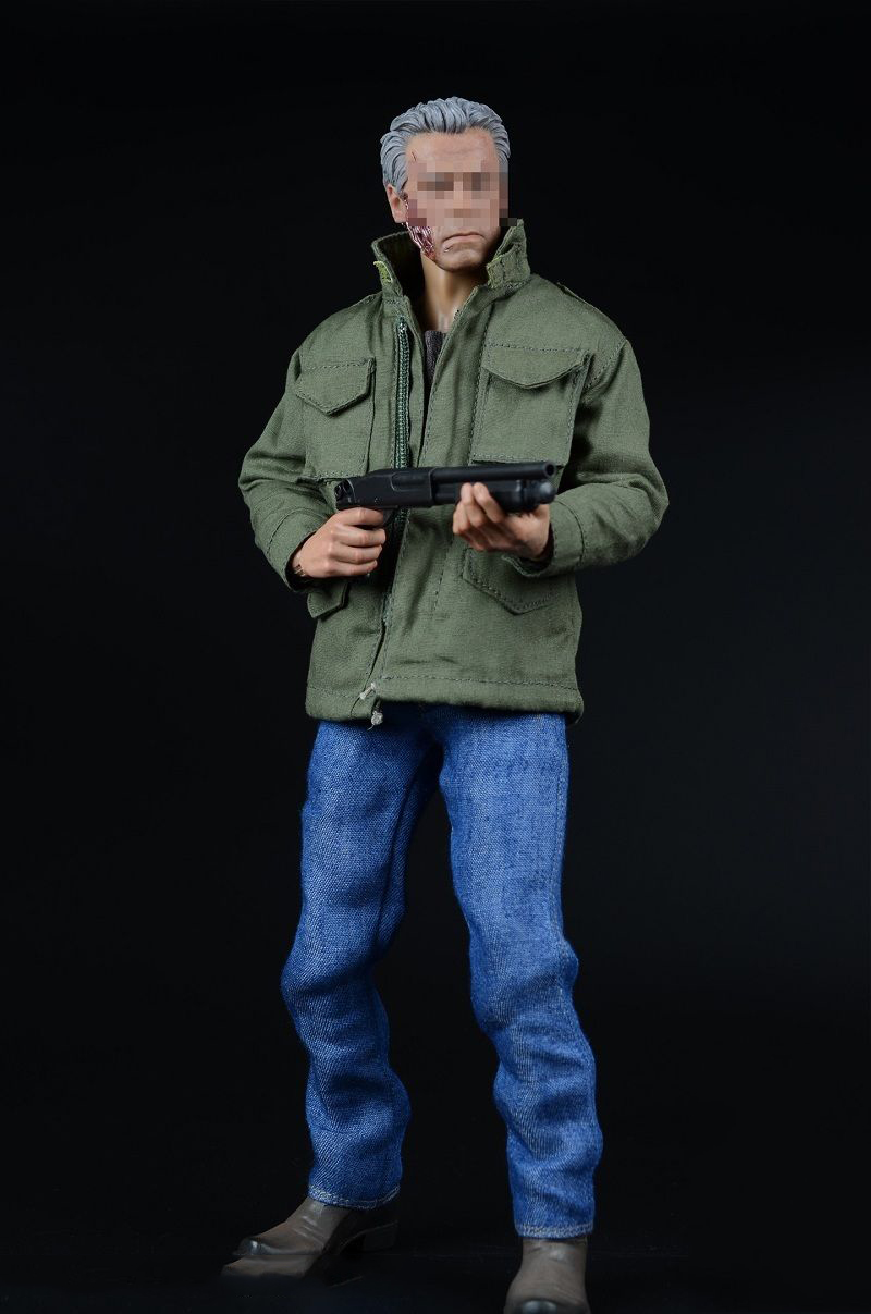 1/6 Male Windbreaker Arnold Coat Jeans Clothes Shoes With Gun Model for 12 inches Action Figure