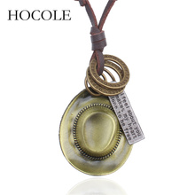 все цены на HOCOLE New Punk Style Cow Boy Hat Cap Tag Round Loop Antique Bronze Alloy Charms Necklace Brown Leather Chain Pendant Necklace онлайн