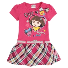 Girls Short Sleeve Dress Summer New Cotton Embroidery Figure Childrens Wear Party H4709