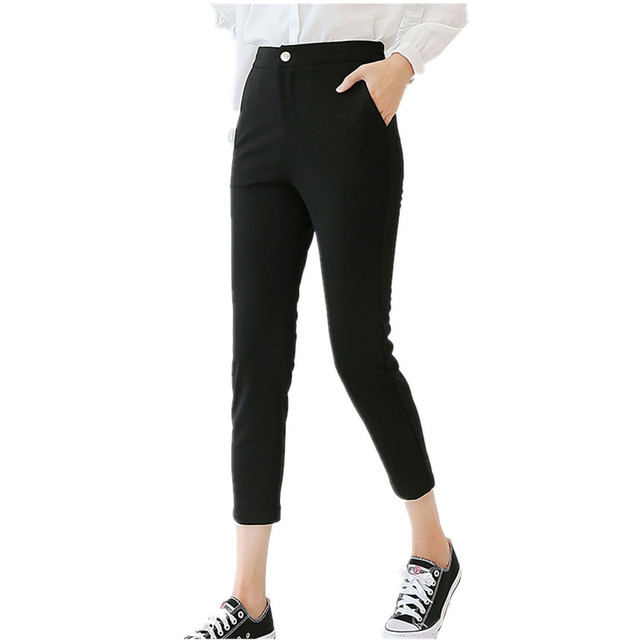 89599c770cde B2080 Spring summer 2018 new women casual high waist loose thin style nine  point straight tube harem pants girl cheap wholesale-in Pants   Capris from  ...