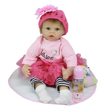 Soft Silicone 22 Inch Fashion Reborn Babies Realistic Baby Girl Lovely Newborn Doll Lifelike Baby Toys By NPK Collection