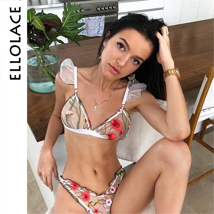 Ellolace Sexy Flower Embroidery Lingerie   Set   Mesh Women   Bra     Set   2019 Fashion   Brief     Sets   Transparent Underwear Summer Female   Sets