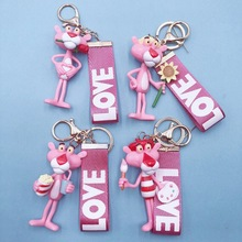 2019 The New Keychain Vinyl Doll Gift For Women Pink Panther Cartoon Keyring Creative Birthday Key Ring Small