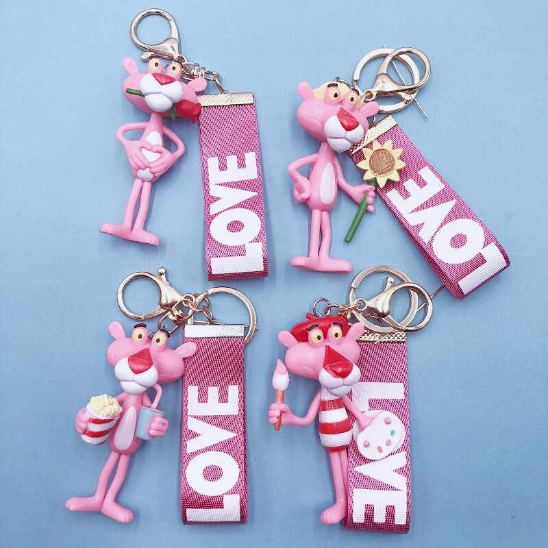 2019 The New Keychain Vinyl Doll Gift For Women Pink Panther Cartoon Keyring Creative Birthday Key Ring Small Gift