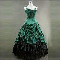 Индивидуальные 2018 Готический Викторианской Длинное Платье Зеленый и Черный Этап Производительность Маскарад Платье Бальные Платья Для Же