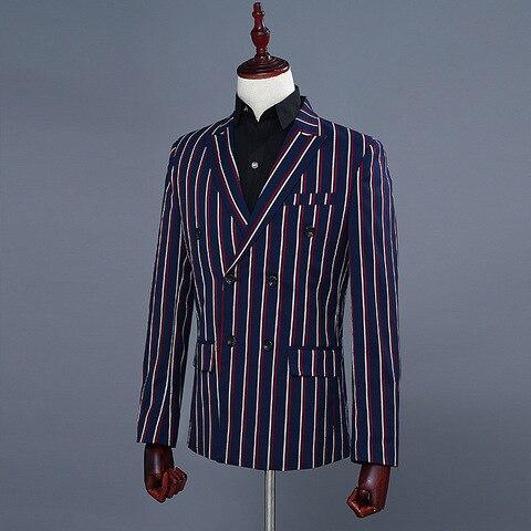 Simple Formal Suits Men 2019 Long Sleeve Dress Mens Casual Prom For Blue Stripes Suit Slim Fit Clothing Two Piece Set Coat Pants Karachi