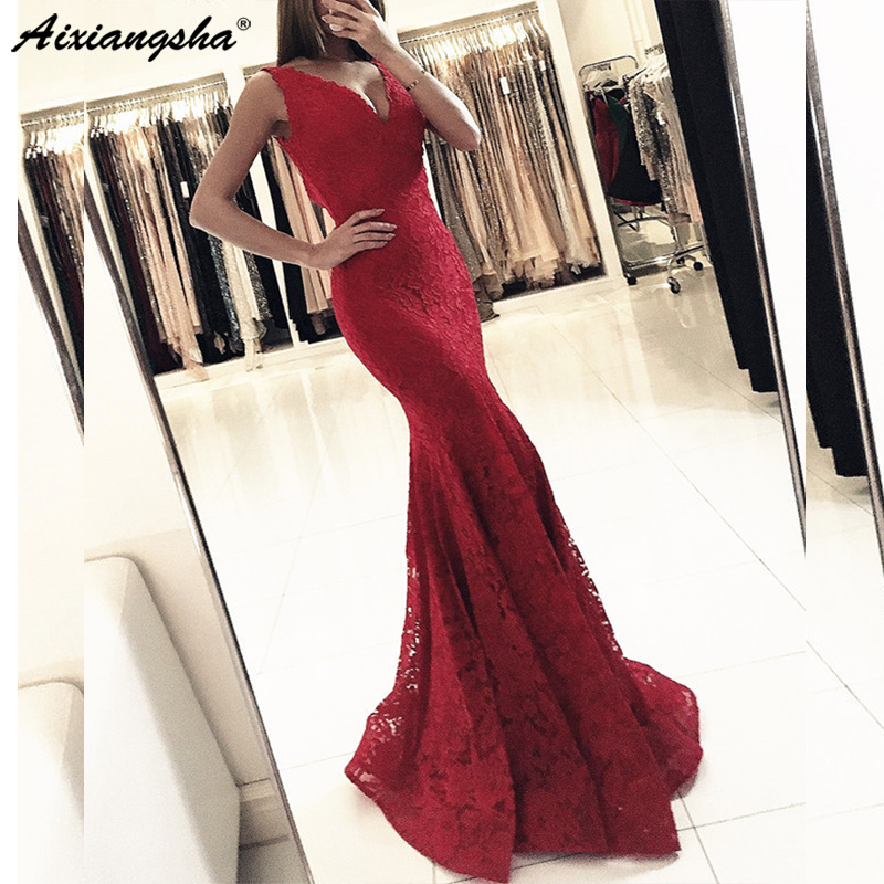 Burgundy 2019 Deep Mermaid   Dresses   Long V Neck Sexy Lace Maxys Women   Prom   Long   Dress   Evening   Dresses     Prom     Dress