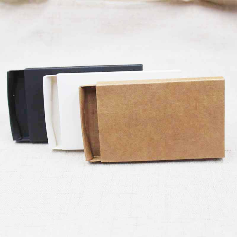 10pcs DIY Blank Kraft/black/white Cardboard Slide Drawer Box Gift/ Candy Favor Packing Display Box  Custom Cost Extra