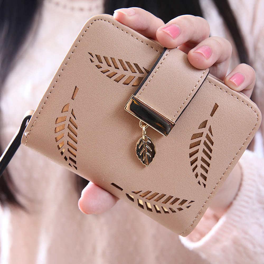 Aelicy Women Leaf Bifold Wallet Leather Clutch Card Holder Purse Handbag PU Leather Clutch Women Wallets Short Small Bag zelda wallet bifold link faux leather dft 1857