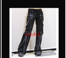 27-37 ! Men's Personality Punk Gothic Horn Flare Pants Men's Non-mainstream Casual Rivet Gas Hole Trousers ! free delivery