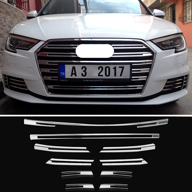 ANZULWANG New ABS Front Grille Decorative Cover Trim Strips 10pcs For <font><b>Audi</b></font> <font><b>A3</b></font> 2017 <font><b>2018</b></font> Car Styling Bumper decoration Decals image
