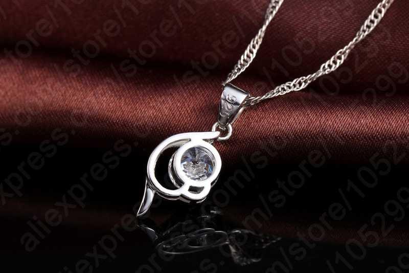 2019 neueste Shinning Frau Geschenk 925 Sterling Silber Schmuck CZ Anhänger Halskette Ohrring Dame Hochzeit Engagement Set Mit Box