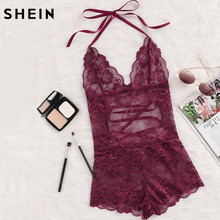 94168af8c7 SHEIN Burgundy Deep V Neck Sleeveless Pajama Bottoms Tie Up Back Halter  Neck Lace Sleep Romper Sexy Autumn Pajamas