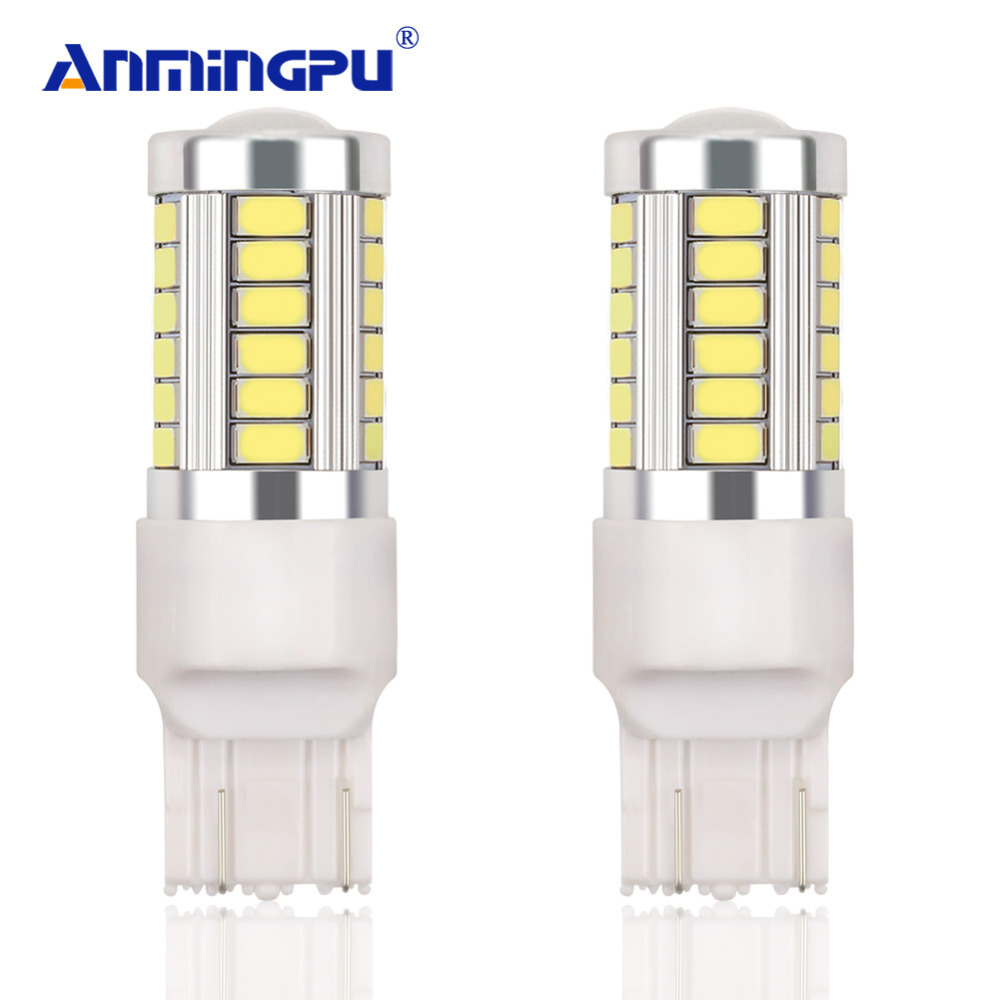 ANMINGPU 2Pcs Signal Lamp 7443 T20 LED W21/5W Led Bulb Auto Reverse Lamps 5730 33SMD Brake LED Bulb 12V White Yellow Amber Red 2pcs 1200lm t20 7443 led bulbs 7440 w21 5w led car lights turn signal brake light parking light auto fog lamps red amber