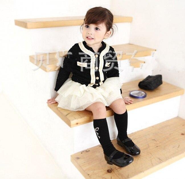 все цены на  EMS DHL Free Shipping White Black Fall Spring Long Sleeve 2pc set Cardigan tutu tiers skirt Children Clothing 2-7 Years  онлайн