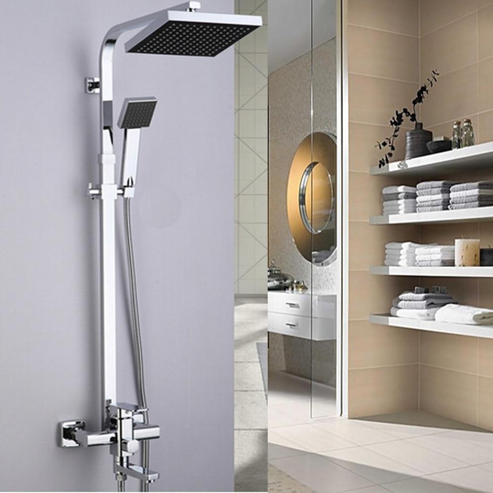Uythner 8 ABS Rainfall Shower Head Rotate Tub Filler Shower Mixer Faucet Wall Mount