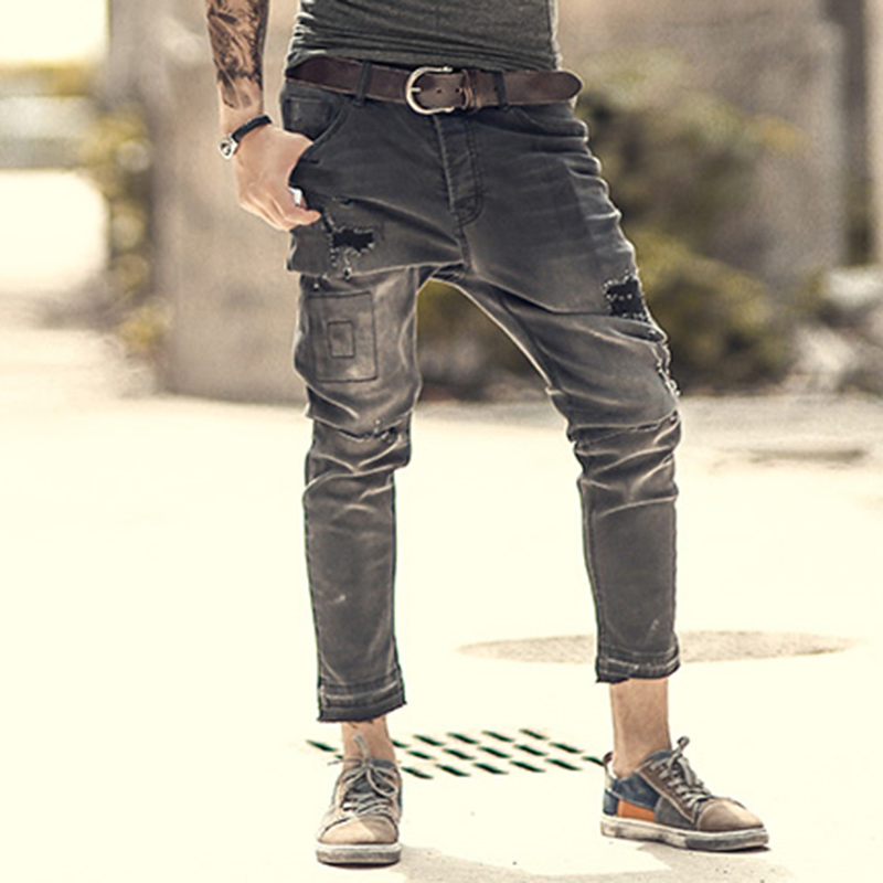 Mens retro casual ripped black jeans  2