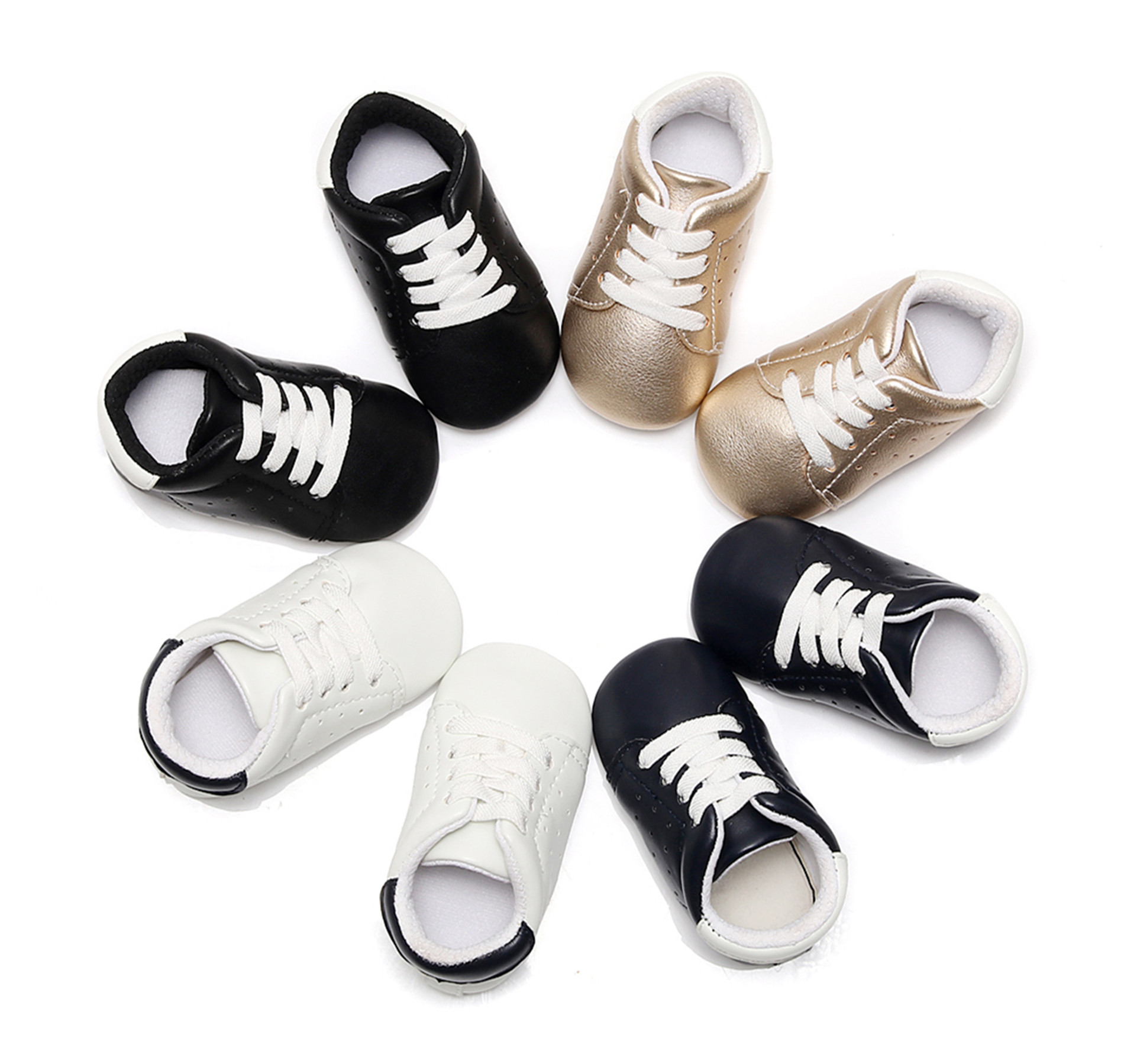 2018 New Pu Leather Baby Moccasins Cute Boys Girls Fashion Sneakers Casual Shoes for Infant and Toddler First Walkers