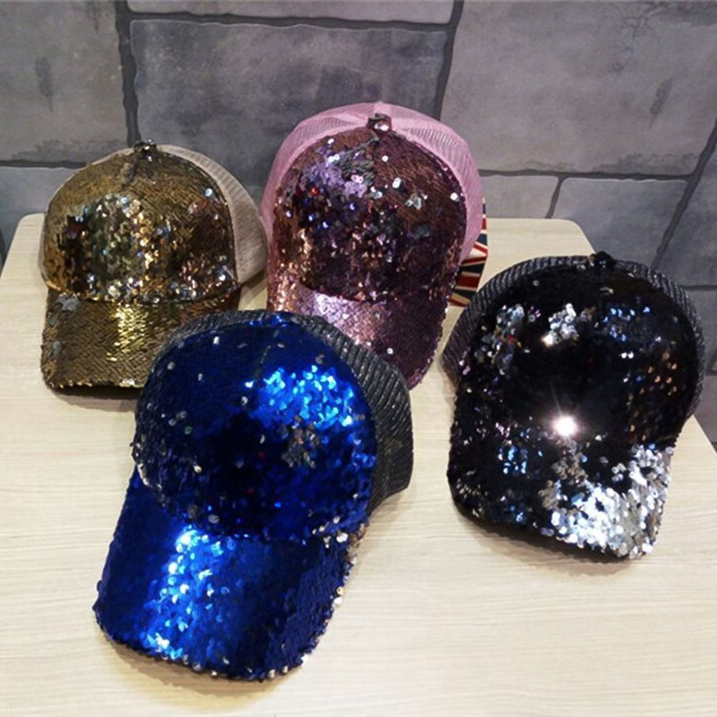mesh hip hop men women Tennis Caps hats for hat Femme Sequin baseball cap hats 2018 New snapback