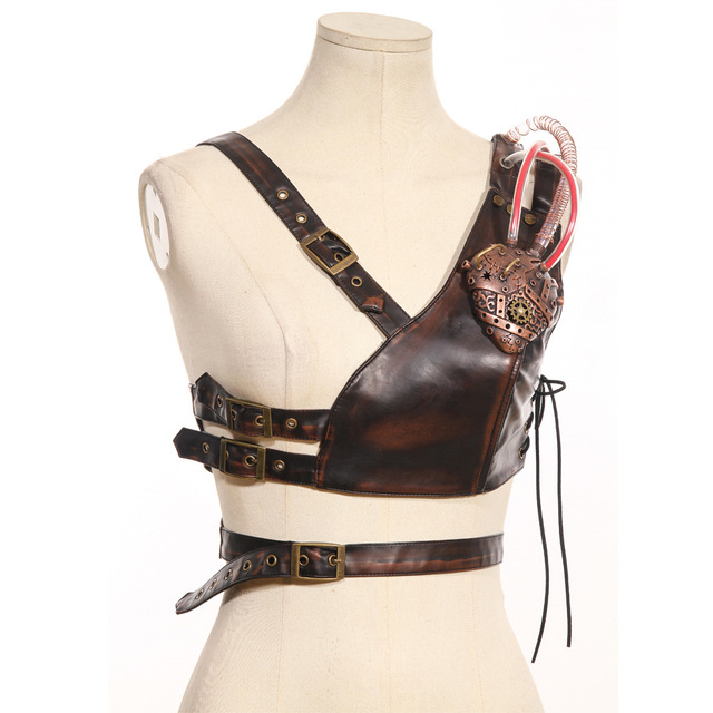 Steam Punk Cosplay Festive Party Party Shoulder Strap Leather Chest Strap with Armor 3