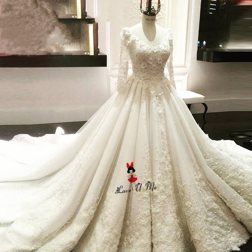US $19.19 19% OFFHochzeitskleid Vintage 19D Flowers Long Sleeve Wedding  Dress Lace Pearls Puffy China Bride Dresses Luxury Wedding Gowns