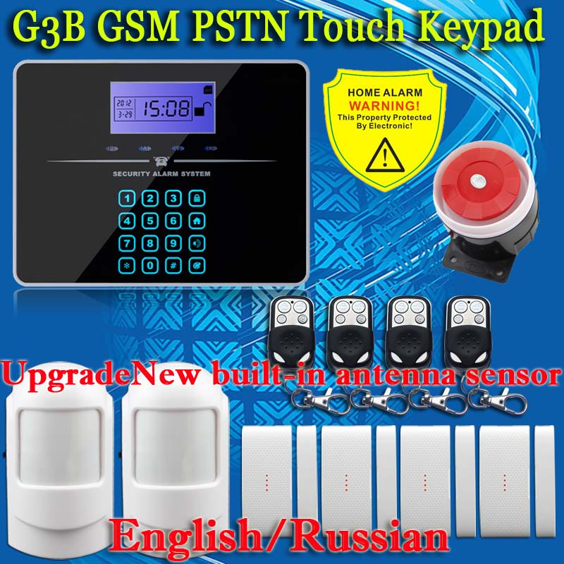 ФОТО  433MHZ dual-network GSM PSTN SMS House Burglar Security Alarm System PIR Motion Detector+door/window Sensor Kit Remote Control