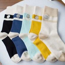 Женские носки с вышитыми смайликами; Разноцветные хлопковые носки в стиле Макарон; дизайн; Осенние повседневные носки для девочек в консервативном стиле; 2 пар/лот