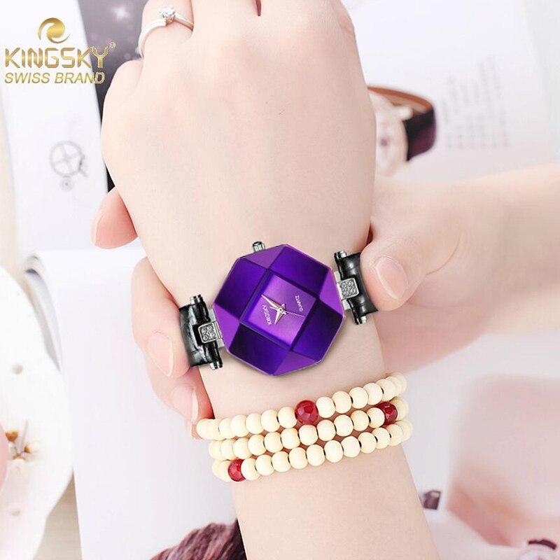 Prix pour Relojes mujer 2016 Kingsky Marque quartz montre femmes mode casual en cuir dames montres relogio feminino montre femme
