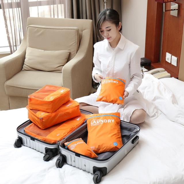 6 pçs/set Acessórios de Viagem Pacote de Viagem para Receber Saco de Roupa Sacos de Bagagem Homens e Mulheres Viajar Organizador de Embalagem À Prova D' Água