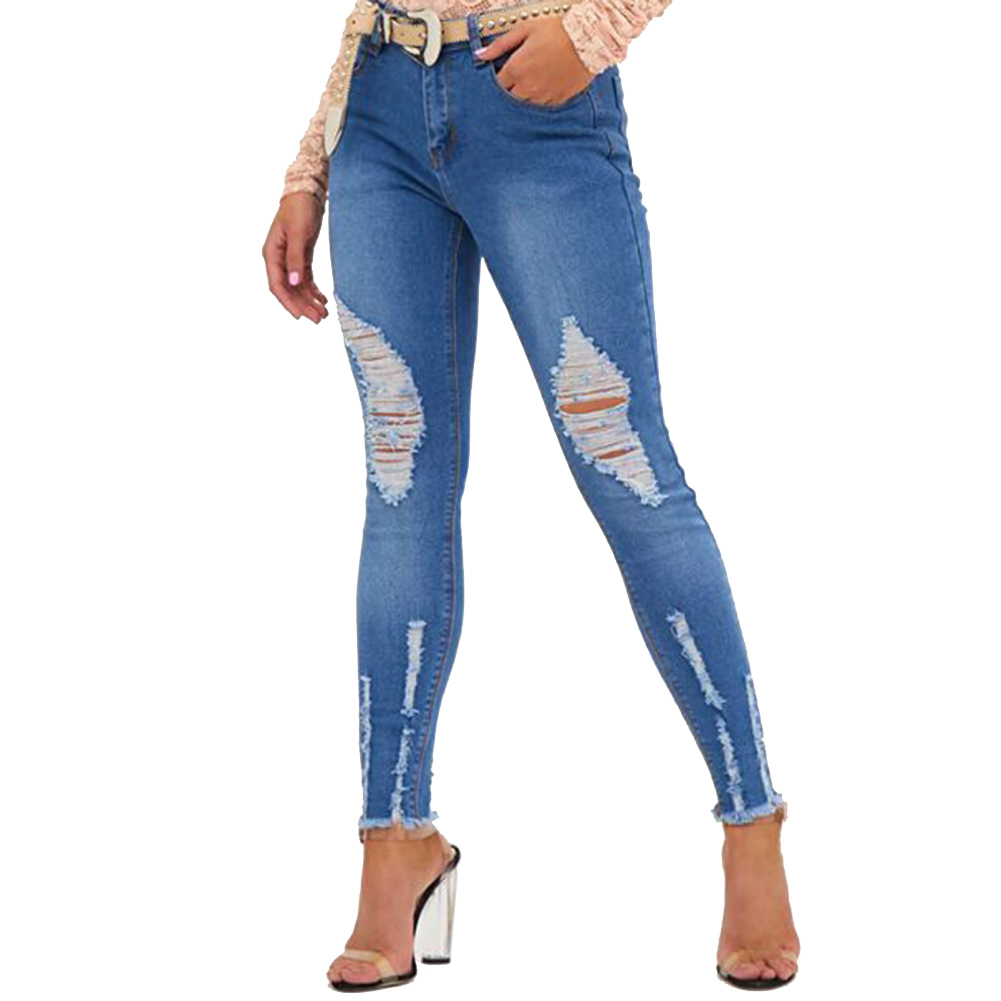 Ripped Fading Hole Jeans Women`s True Denim Skinny Distressed Jeans For Women Jean Pencil Pants