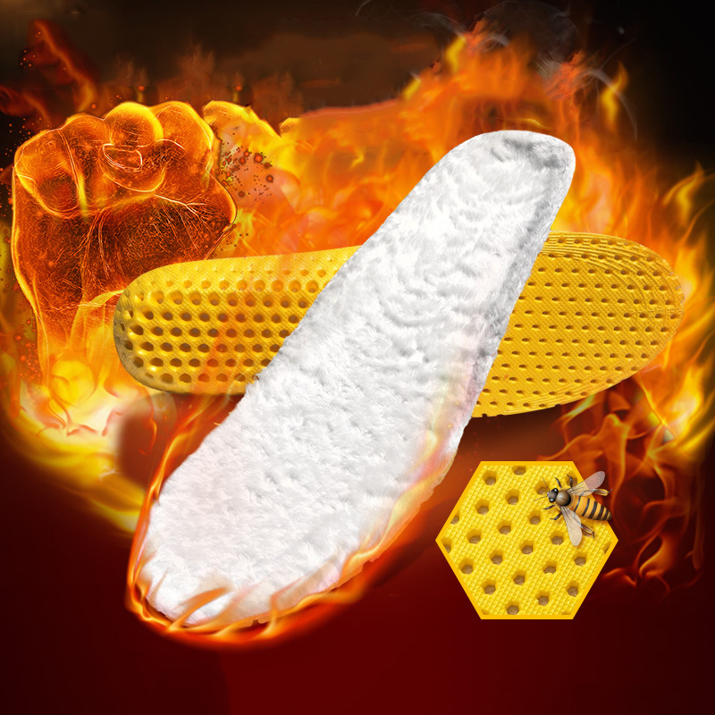 Hot Selling Unisex Insole Heated Cashmere Thermal Insoles Thicken Soft Breathable Winter Sport Shoes Foot Care Shoe Pad Big Size