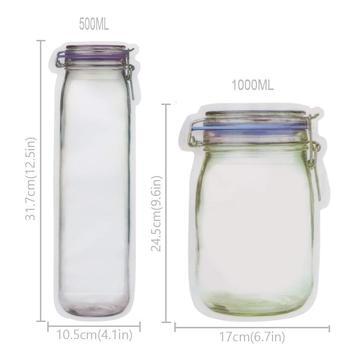 LMETJMA 12 Pieces Mason Jar Zipper Bags Reusable Snack Saver Bag Leakproof Food Sandwich Storage Bags for Travel Kids KC0216 1