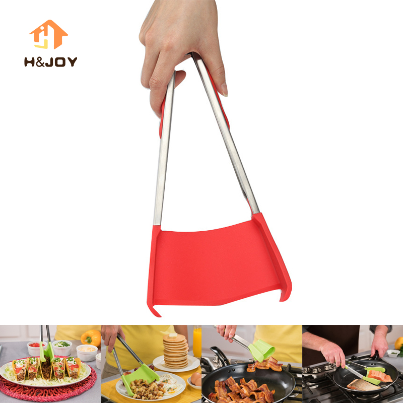 Clever 2-in-1 Kitchen Spatula & Tongs Non-stick Heat Resistant Stainless Steel Dishwasher Safe Kitchen Salad Spatula Tongs