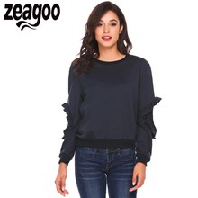 Zeagoo 2017 Women Sweatshirt sudaderas mujer O-Neck Ruffles Open Elbow Sleeve Solid Casual Pullover Sweatshirt bts kpop(China)