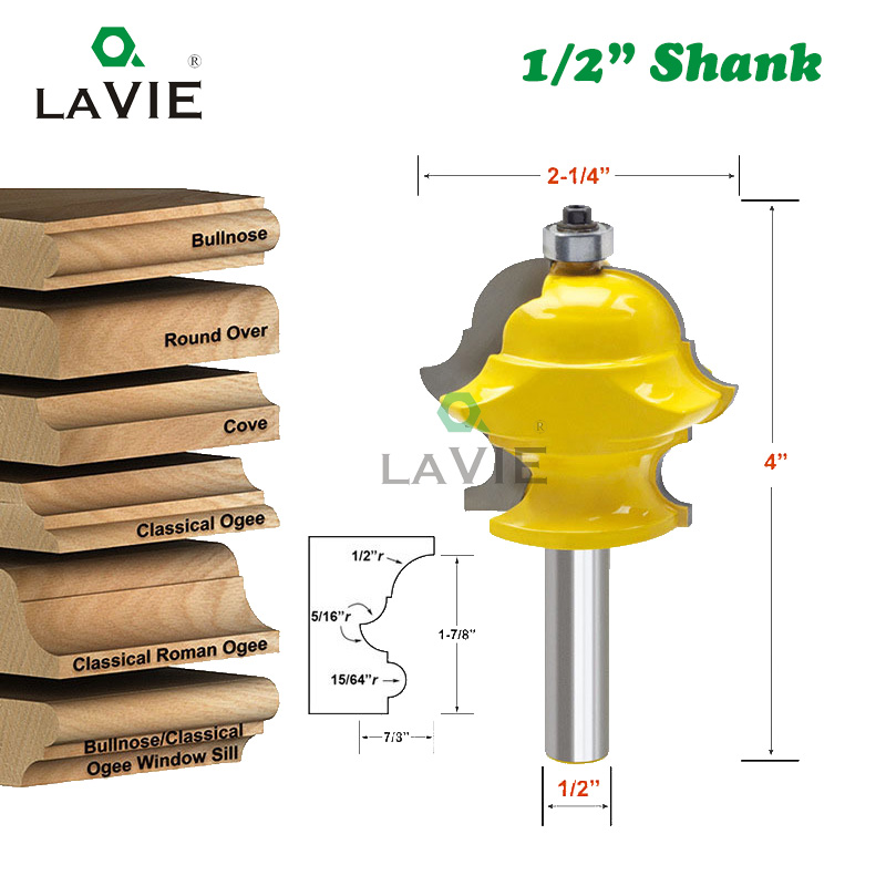 LAVIE 1PC 12mm 1/2 Shank Multiform Multi-profile Molding Router Bit Door Milling Cutter For Wood Woodworking Tools MC03085