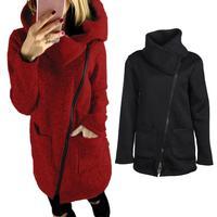 2017 Phụ Nữ Thời Trang Mùa Thu Đông Áo Khoác Quần Áo Ấm Fleece Coat Slant Zipper Có Cổ Coat Lady Quần Áo Nữ Áo Khoác
