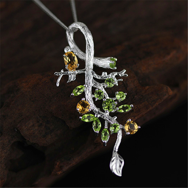 New Arrival Very Luxury Shiny Bird On Tree Design Pendant Women 925 Sterling Silver Handmade Jewelry Natural Stones Gift