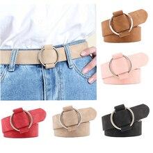 Пояс для женщин, Дамский Повседневный винтажный кожаный ремень, Джинсовый пояс, круглый ремень с пряжкой