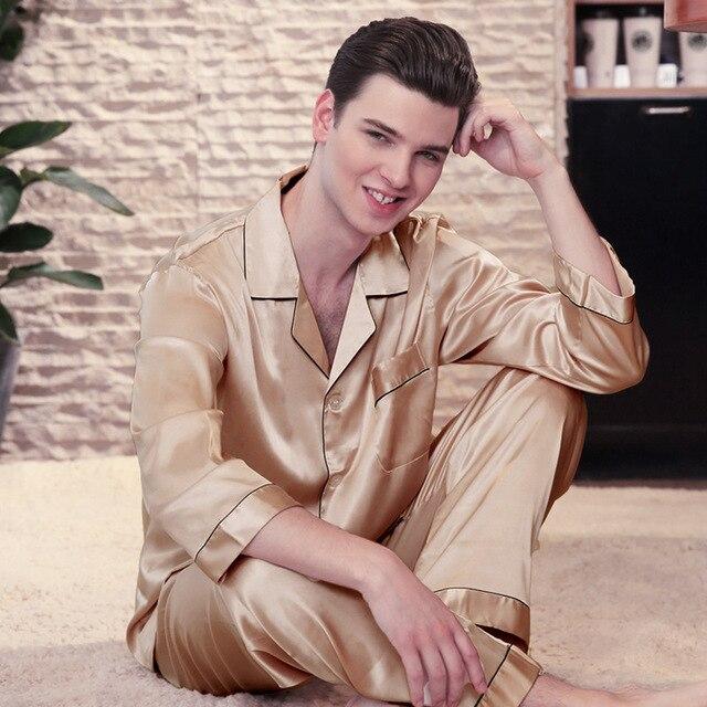 SSH0141 2018 новый бренд пижамы шелковые Для мужчин Пижама Демисезонный с длинными рукавами мужские Домашняя одежда, пижамный комплект Для мужчин